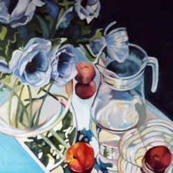 Glass reflections with Anemones and nectarines.