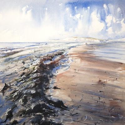 Brook Beach Isle of Wight, acrylic 60 x 60cm