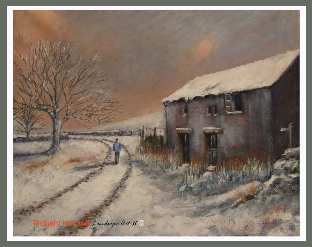 Monyash Barn in a snow storm Winter