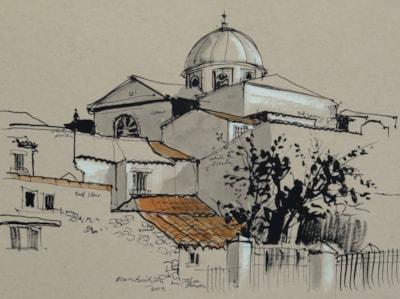 The Church in Jalon (Spain) - plein air sketch.