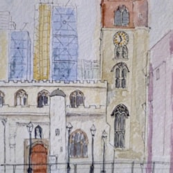 St Giles-without-Cripplegate, in the Barbican estate, London. Pen + wash