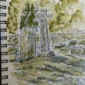 8th century Anglo Saxon Cross Eyam Churchyard sketch