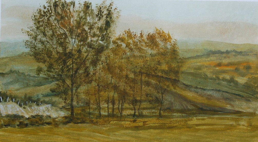 """""""Evening from the airstrip"""" in watercolour"""