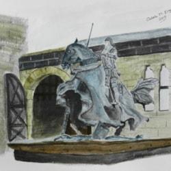 Guarding the Castle - Liquid Pencil on  Watercolour NOT paper