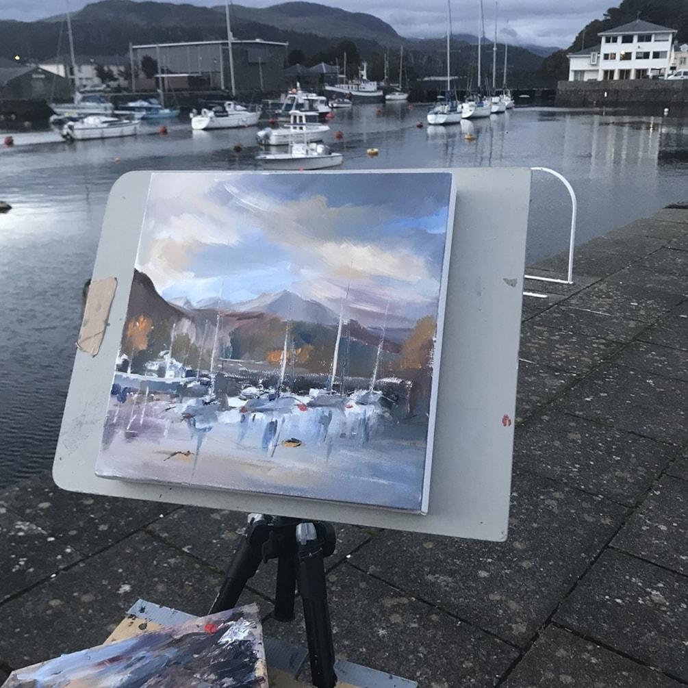 Porthmadog Harbour plein air, oil on canvas