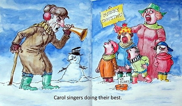Carol Singers-A4 sketchbook-mixed media