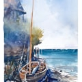 Seaview wooden dinghy watercolour