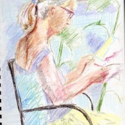 """Ann """"Stella""""and sunflower plants"""