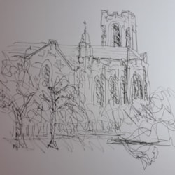 My attempt at a quick wrong handed drawing of Reid Memorial church