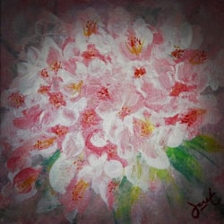 Cherry Blossoms (Acrylic on hard board, 6 x 6 inch)
