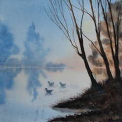 Quiet Lake (humble attempt to copy a beautiful painting of Dermot Brennan)