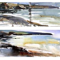 The Coast at Abereiddy, plein air sketch and studio response.