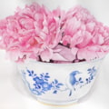 Peonies in a Chinese bowl.