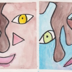 Abstract face - front and back of the greeting card