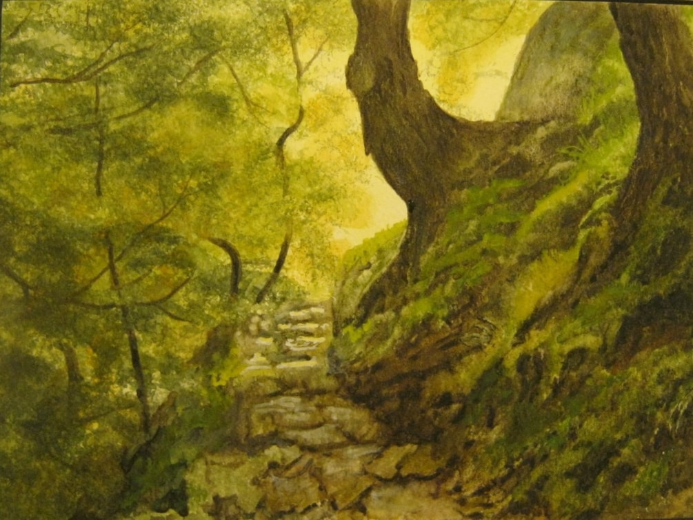 """Footpath to Ilkley Moor"" -revisited Watercolour"
