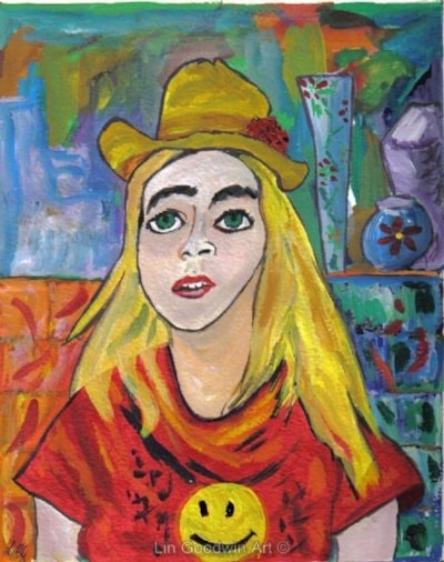 Girl With Green Eyes and a Hat (after Matisse)