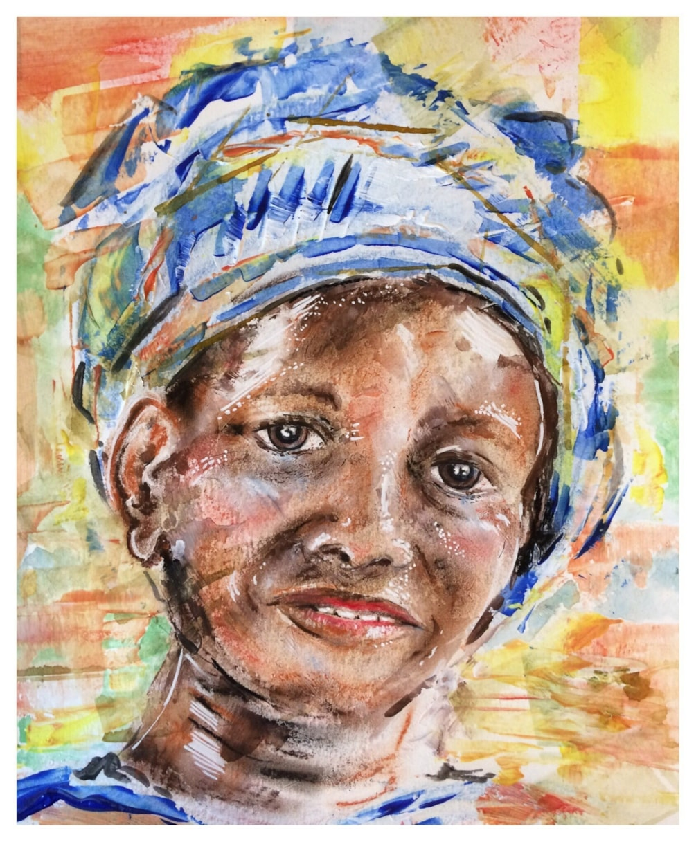 Lady with Head Scarf