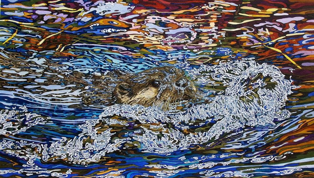Otter in autumn waves