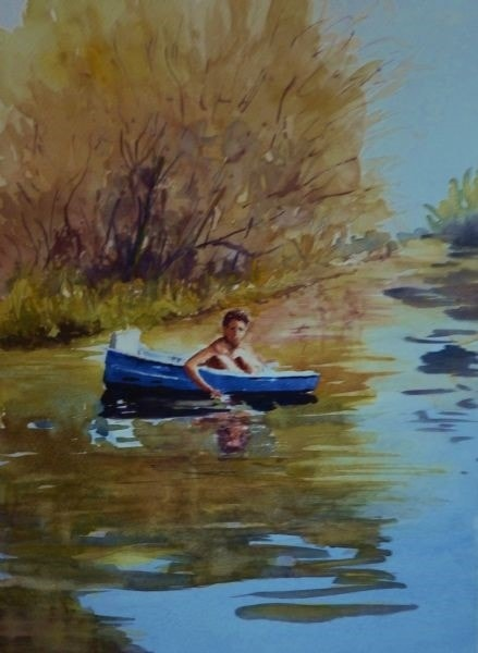 Boy in boat on the Nile - Michael Trask