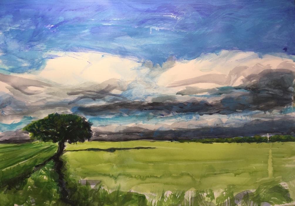 Yorkshire sky near Ripon, acrylic on A2 cartridge