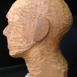 Head carving in mahogany ( a reclaimed old table glued together)