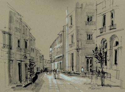 Early Morning Spanish Street Scene - Plein air sketch.