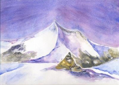 Cairn amidst fallen snow