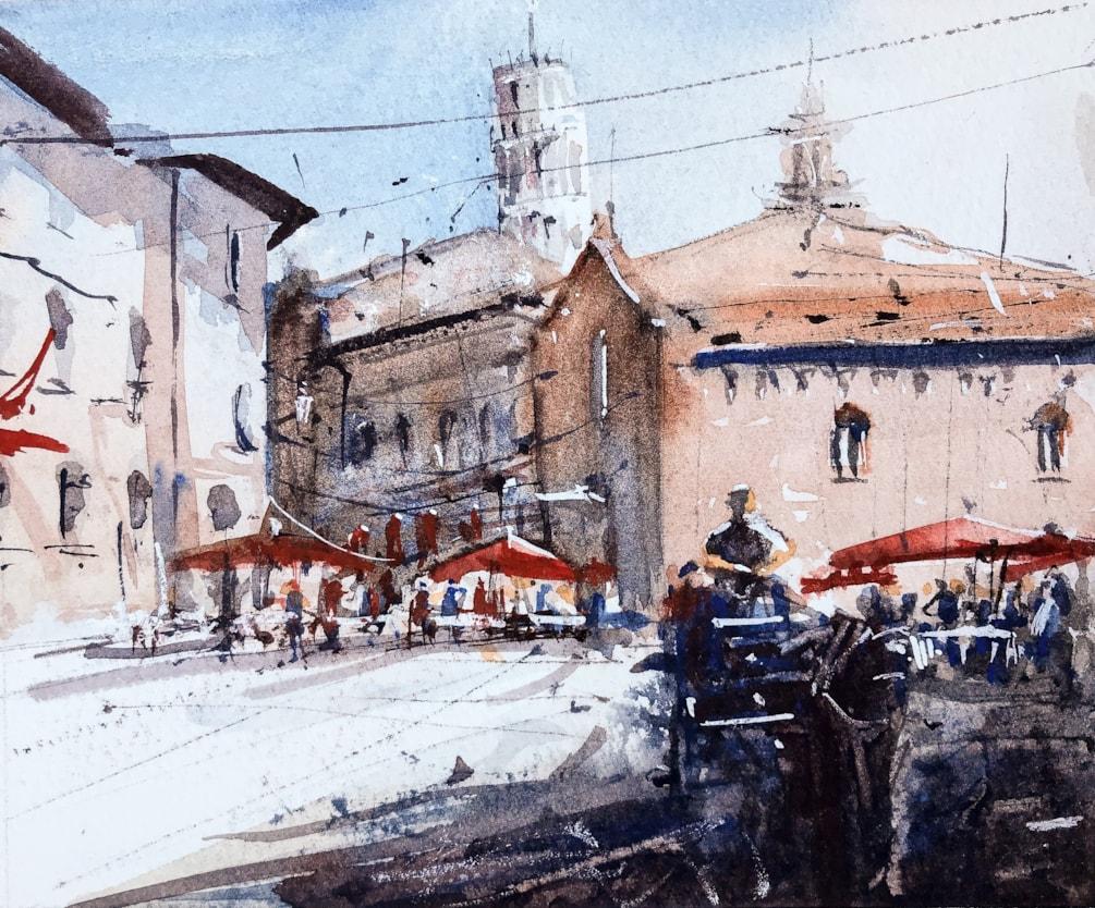 Pisa watercolour 17 x13 cm