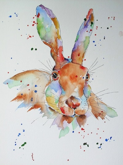 HARE - Semi-blind one-liner pen and wash of a watchful hare. I don't know why, but hares do lend themselves to being painted in extravagant colours and I also felt compelled to paint this one that way as well.