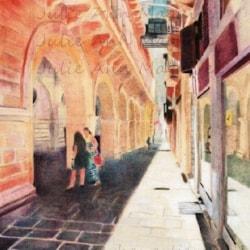 Valletta in the shade (34cm x 25cm) - Derwent Coloursoft on Stonehenge
