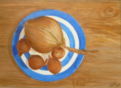 Onion and Shallots on a Cornishware plate