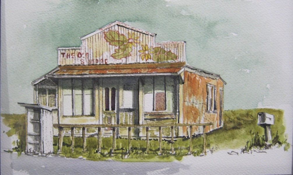 """""""The Old Shoppe""""   line and wash"""