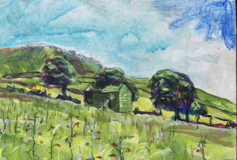 Plein air at the Roaches 2. Conte and acrylic on primed A4 MDF