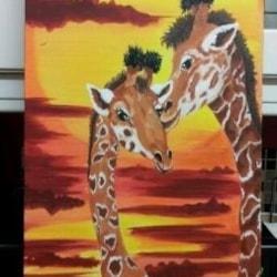 my 1st attempt at mixed media painting. giraffe