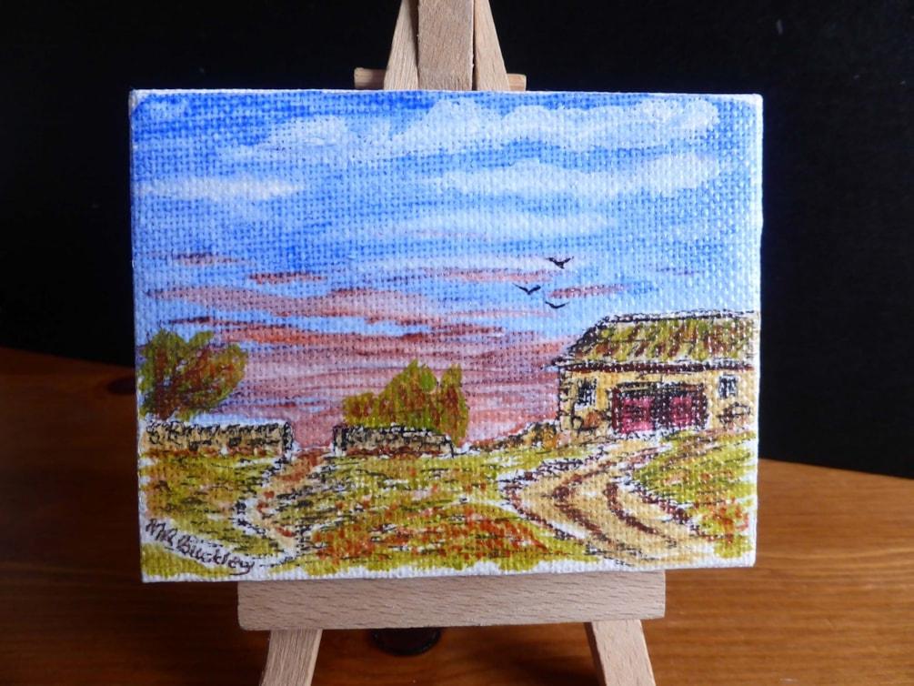 Field Barn. Acrylic 9x7cm box canvas