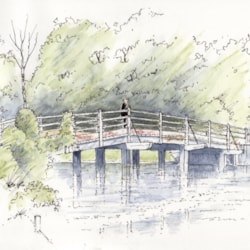 Footbridge at Flatford Mill - sketch