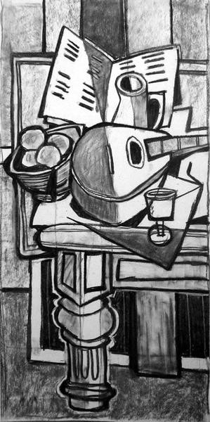 Still Life with Mandolin (in manner of Braque)