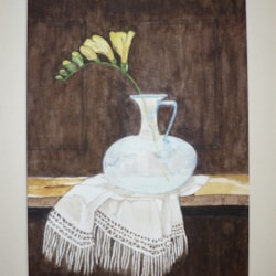 COPY OF JULIE FORD OLIVER'S FREESIA WITH ROMAN GLASS & SCARF