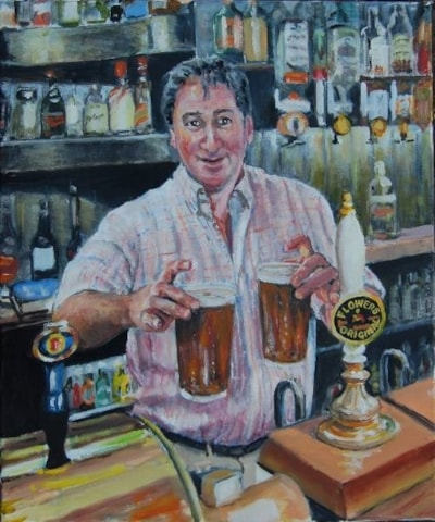 Richard of The Crab & Lobster, IoW. Oil, 60cms x 50 cms