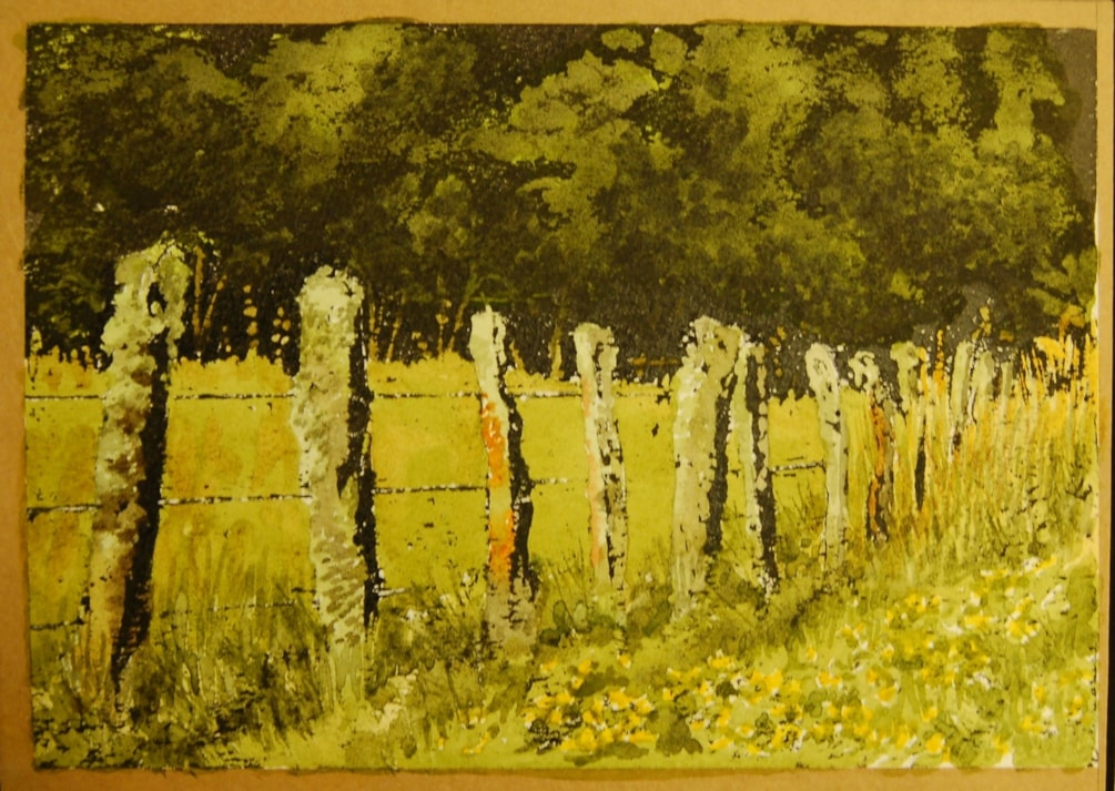 """The fence line"" in mixed media ink technique"
