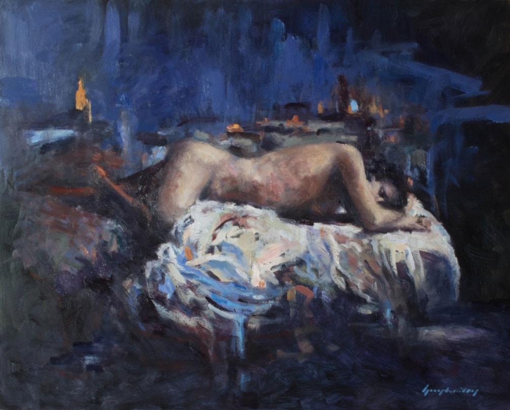Study of a Woman in Blue and Orange