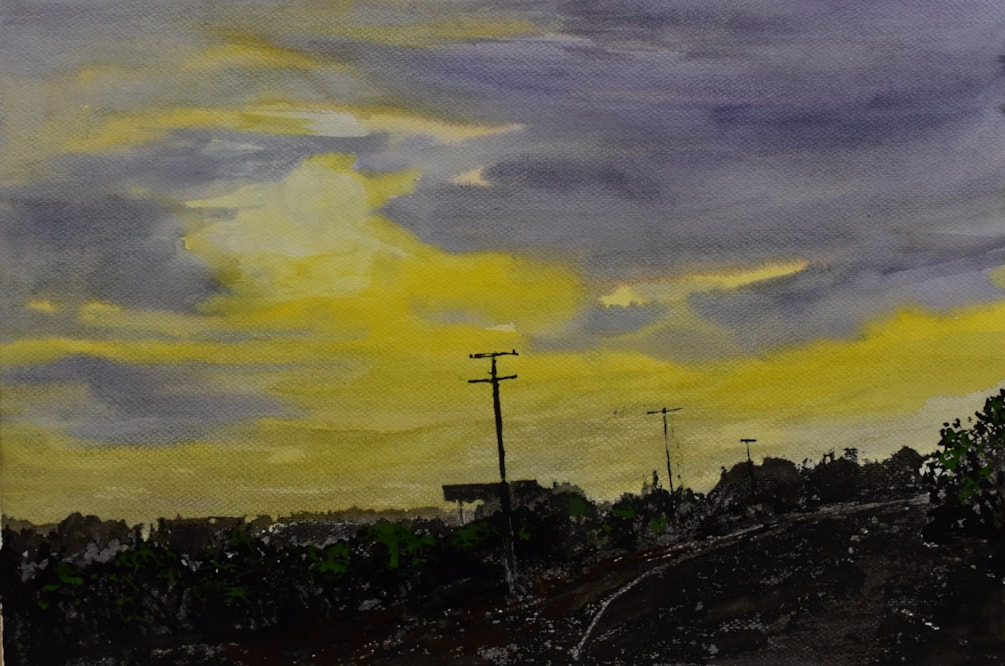 """"""" Setting sun , approaching dusk""""  Inks and watercolour"""