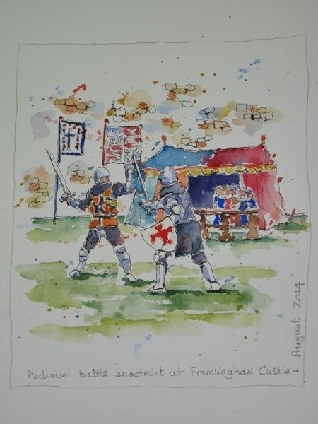 Sketches from my Holiday - Knights at Framlingham Castle