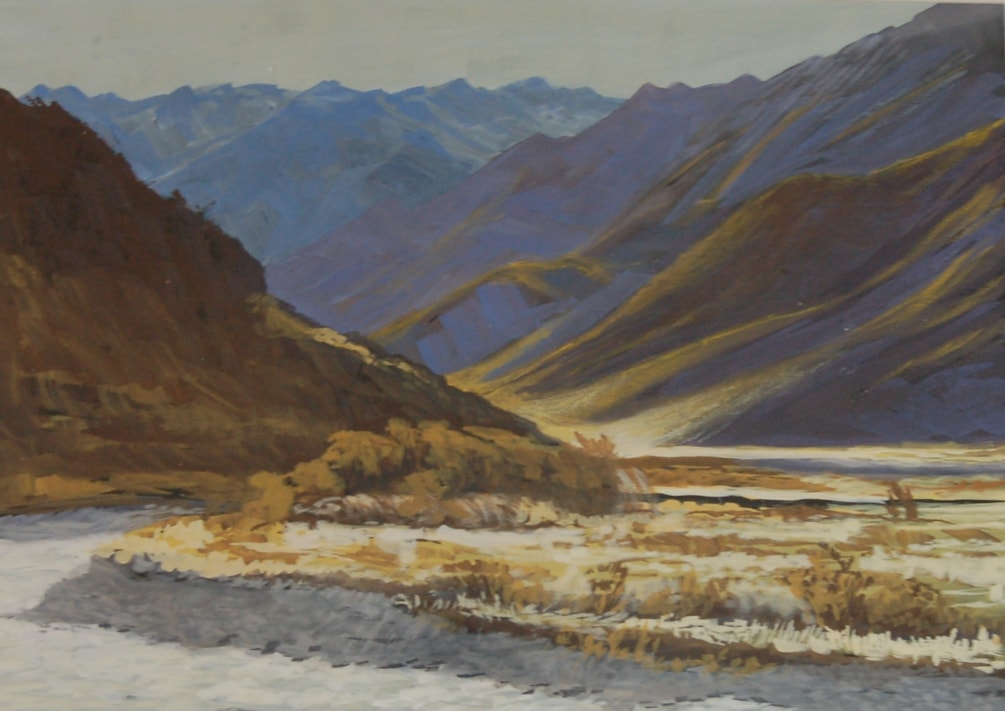 """On Molesworth Station""  in gouache"