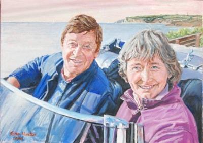 Wendy & Richard setting off on Honeymoon, Oil  70cmsx50cms