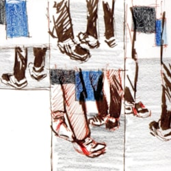 Sketch composition development of the shoe show at Tate Modern.