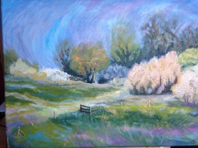 England spring : oil, 30x40cm canvas