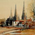 Lichfield Cathedral from the Gardens & River - En-plein-air sketch.