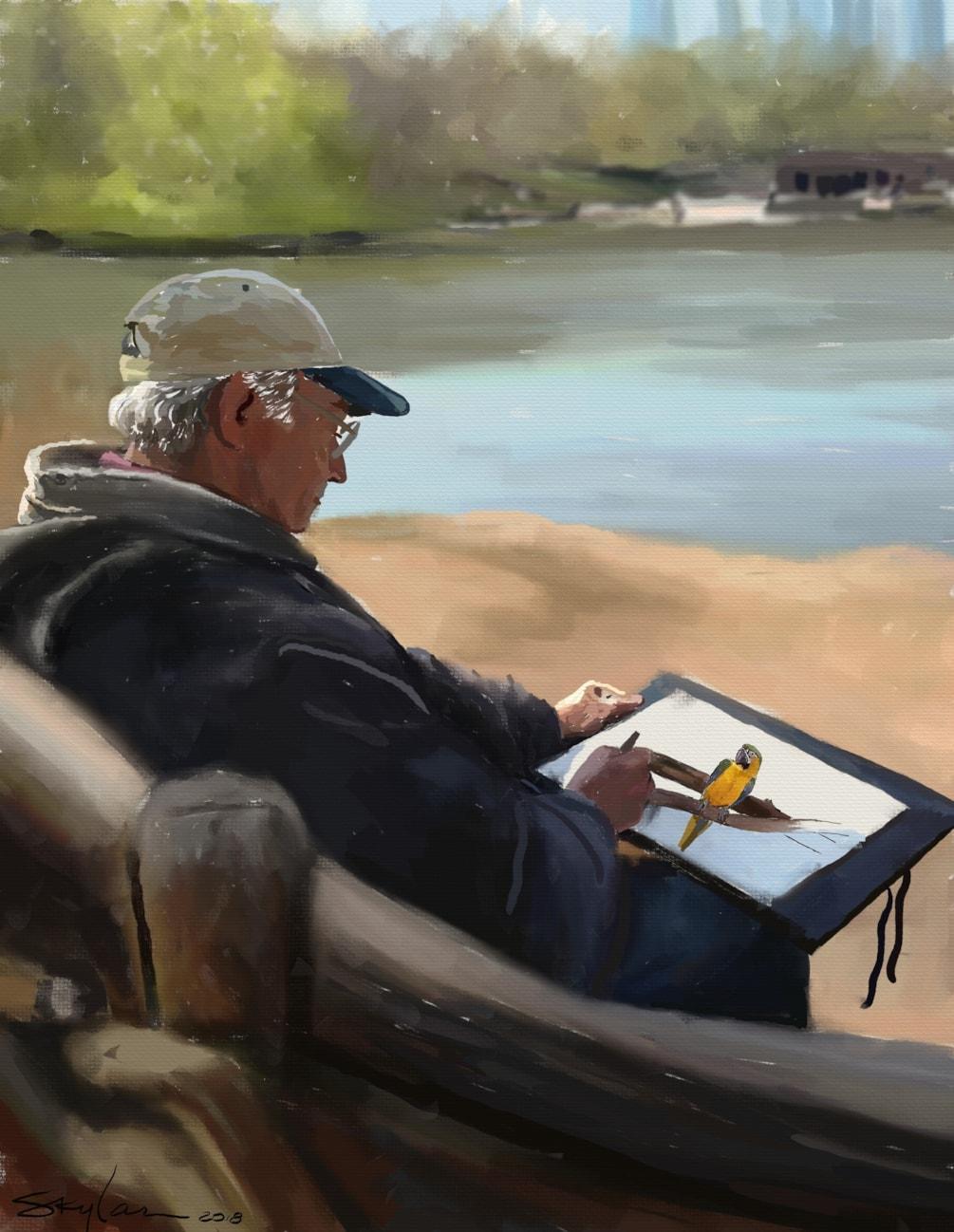 Dad Sittin' and Drawin'
