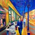 Buxton cafe terrace, acrylic on 36x26 inch canvas